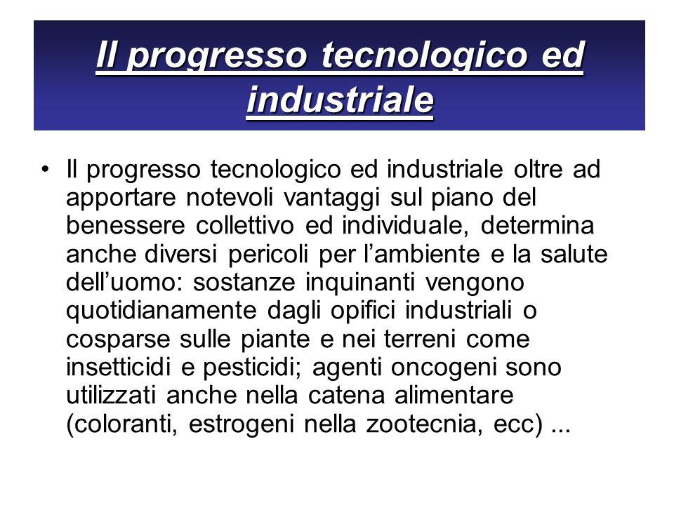 Il progresso tecnologico ed industriale Il progresso tecnologico ed industriale oltre ad apportare notevoli vantaggi sul piano del benessere collettiv