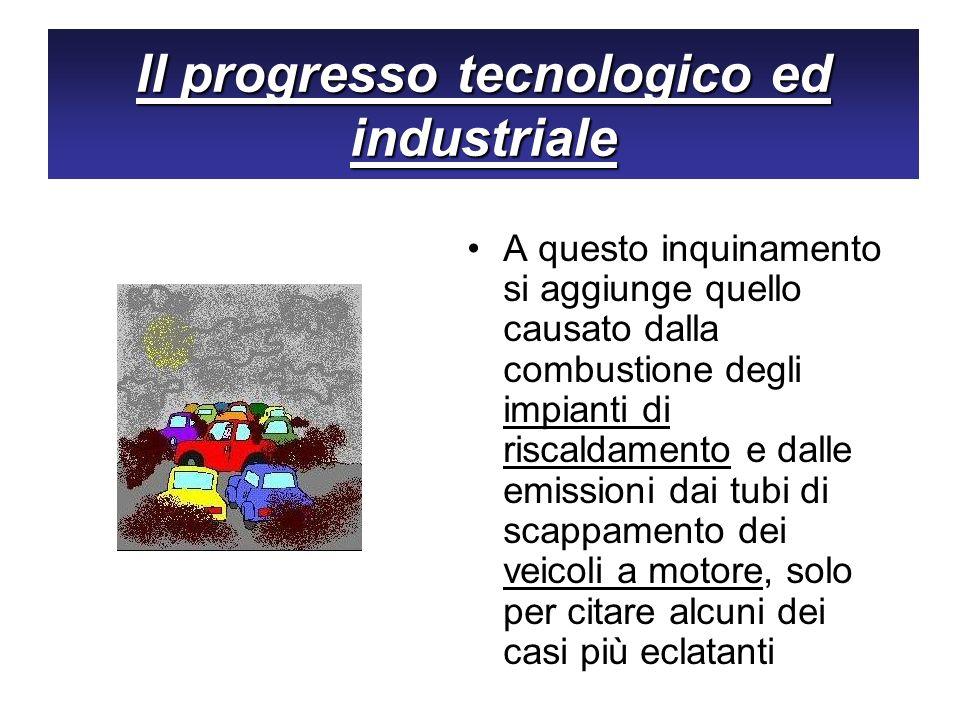 Il progresso tecnologico ed industriale A questo inquinamento si aggiunge quello causato dalla combustione degli impianti di riscaldamento e dalle emi