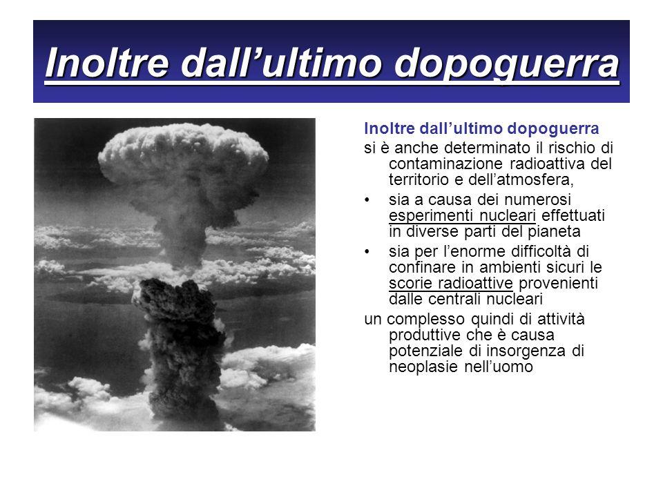 Inoltre dallultimo dopoguerra si è anche determinato il rischio di contaminazione radioattiva del territorio e dellatmosfera, sia a causa dei numerosi