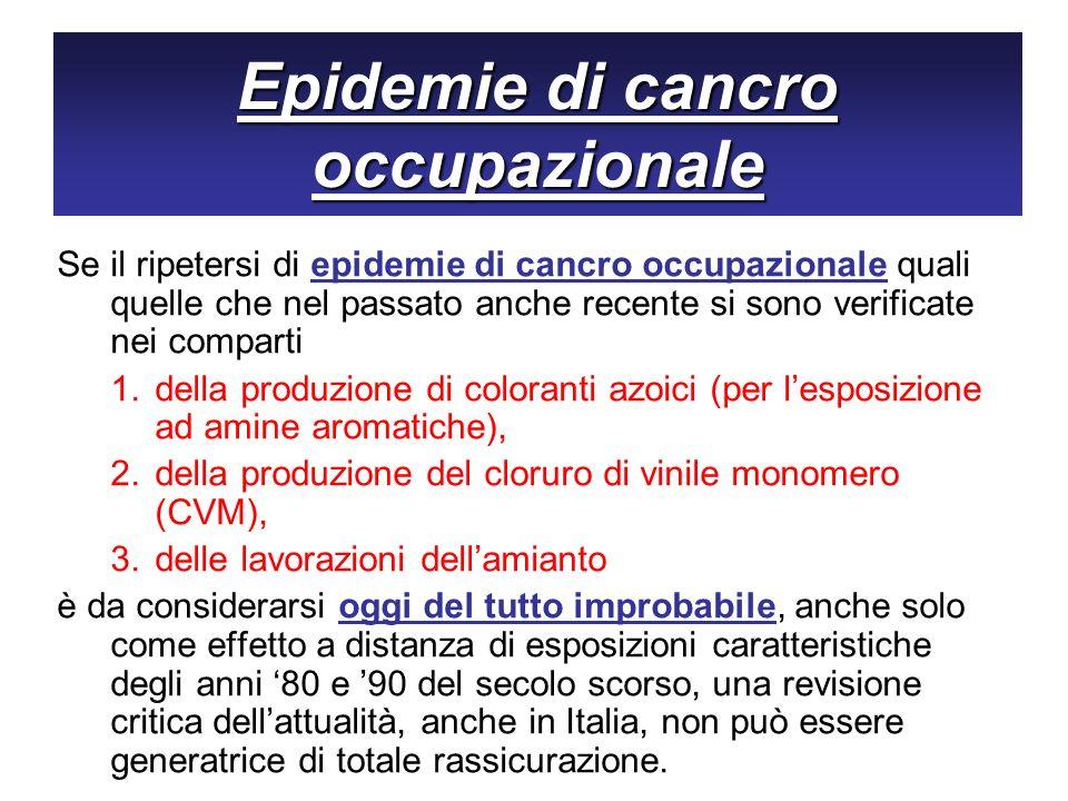 Epidemie di cancro occupazionale Se il ripetersi di epidemie di cancro occupazionale quali quelle che nel passato anche recente si sono verificate nei