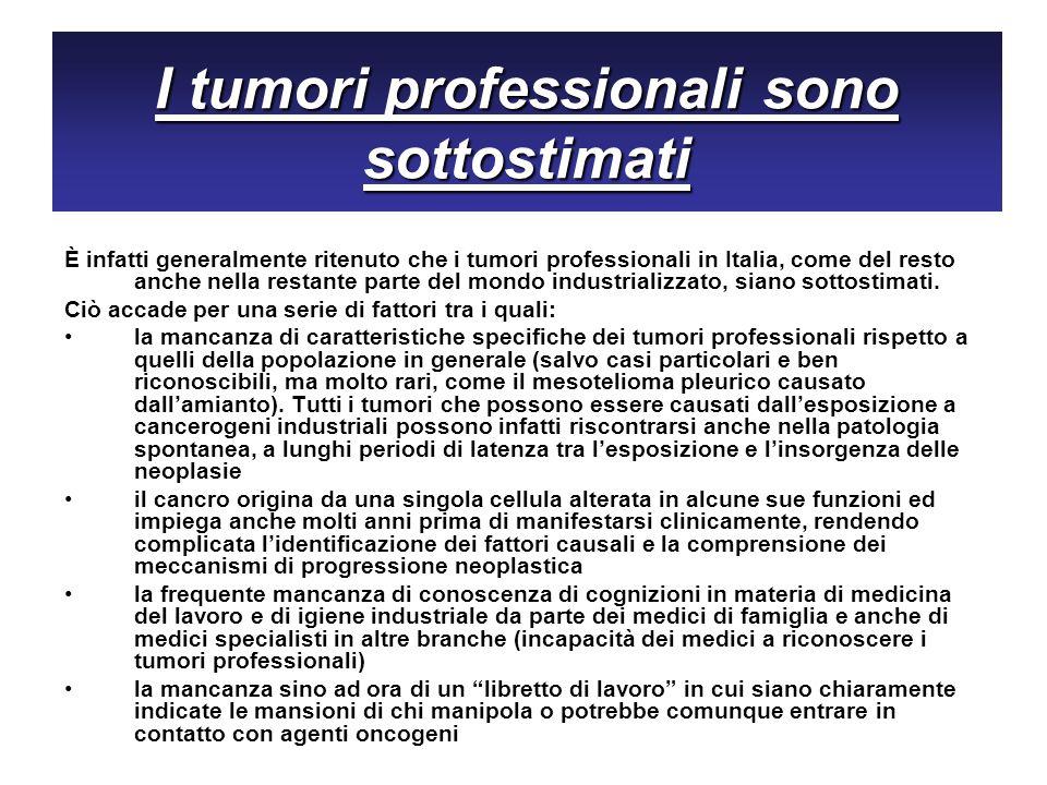 I tumori professionali sono sottostimati È infatti generalmente ritenuto che i tumori professionali in Italia, come del resto anche nella restante par