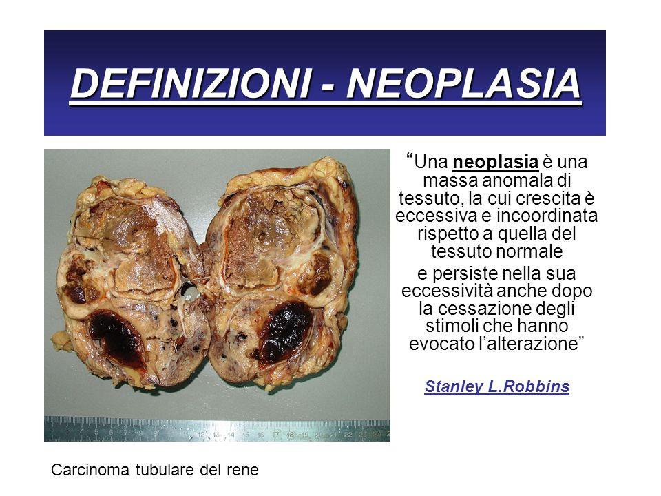 DEFINIZIONI - NEOPLASIA Una neoplasia è una massa anomala di tessuto, la cui crescita è eccessiva e incoordinata rispetto a quella del tessuto normale