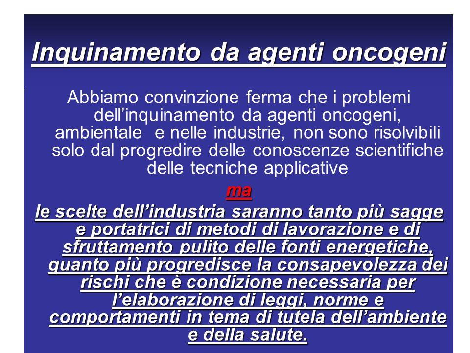 Inquinamento da agenti oncogeni Abbiamo convinzione ferma che i problemi dellinquinamento da agenti oncogeni, ambientale e nelle industrie, non sono r