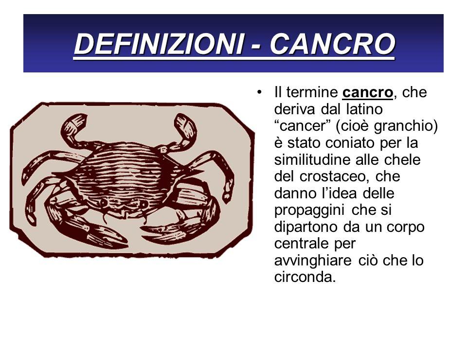 DEFINIZIONI - CANCRO Il termine cancro, che deriva dal latino cancer (cioè granchio) è stato coniato per la similitudine alle chele del crostaceo, che
