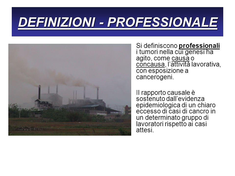 I tumori professionali sono sottostimati È infatti generalmente ritenuto che i tumori professionali in Italia, come del resto anche nella restante parte del mondo industrializzato, siano sottostimati.