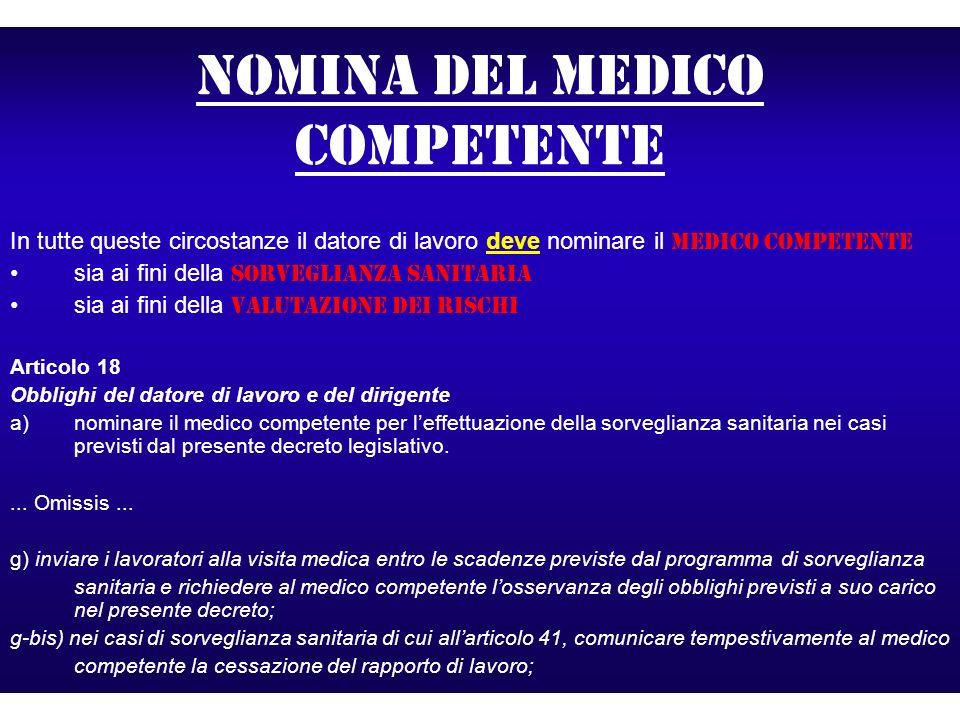 Nomina del medico competente In tutte queste circostanze il datore di lavoro deve nominare il medico competente sia ai fini della sorveglianza sanitar