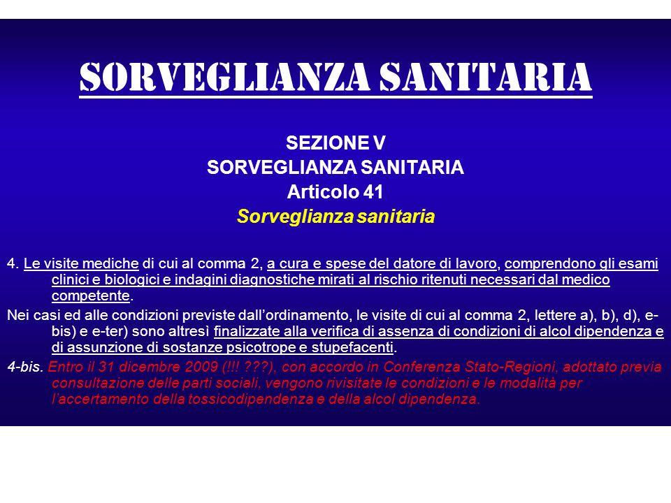 Sorveglianza sanitaria SEZIONE V SORVEGLIANZA SANITARIA Articolo 41 Sorveglianza sanitaria 4. Le visite mediche di cui al comma 2, a cura e spese del