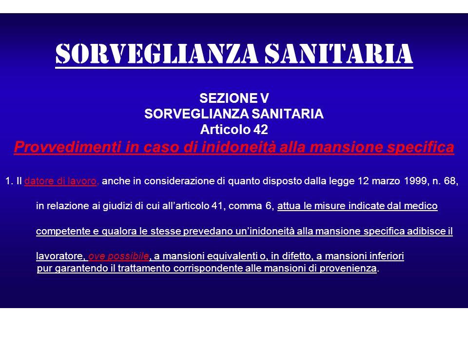 Sorveglianza sanitaria SEZIONE V SORVEGLIANZA SANITARIA Articolo 42 Provvedimenti in caso di inidoneità alla mansione specifica 1. Il datore di lavoro
