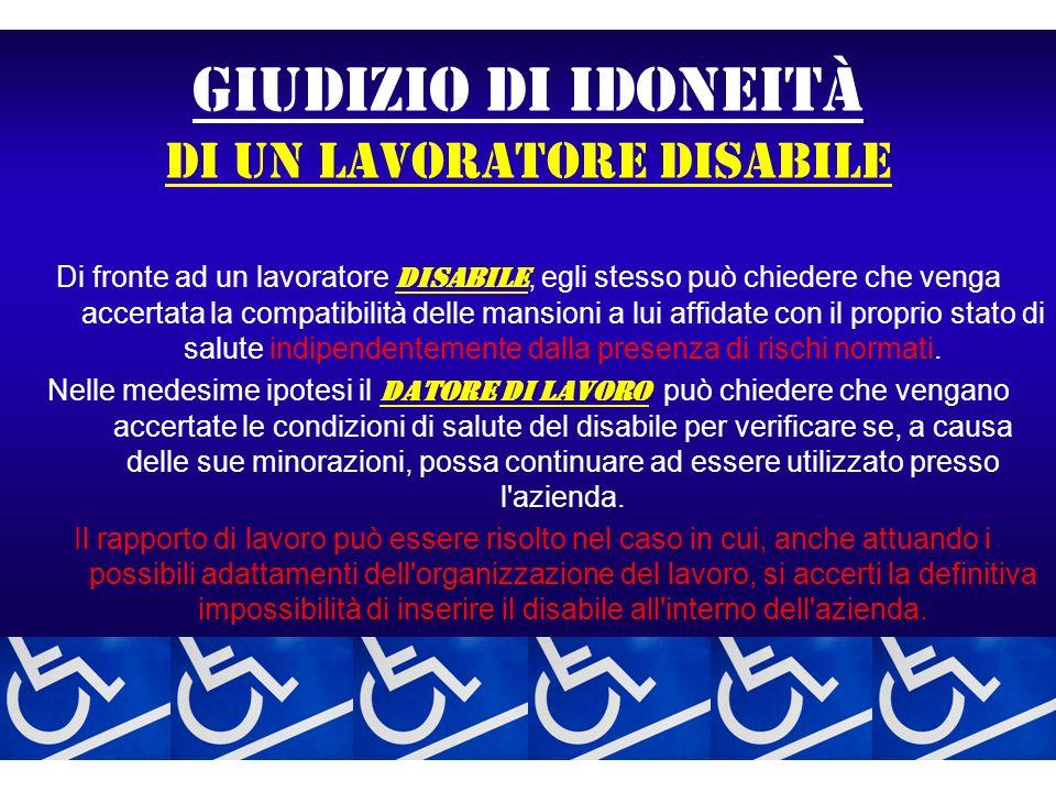 GIUDIZIO DI IDONEITà di un lavoratore disabile Di fronte ad un lavoratore disabile, egli stesso può chiedere che venga accertata la compatibilità dell