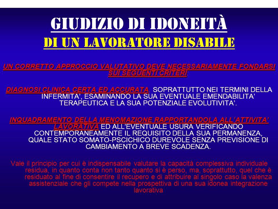 GIUDIZIO DI IDONEITà di un lavoratore disabile UN CORRETTO APPROCCIO VALUTATIVO DEVE NECESSARIAMENTE FONDARSI SUI SEGUENTI CRITERI UN CORRETTO APPROCC