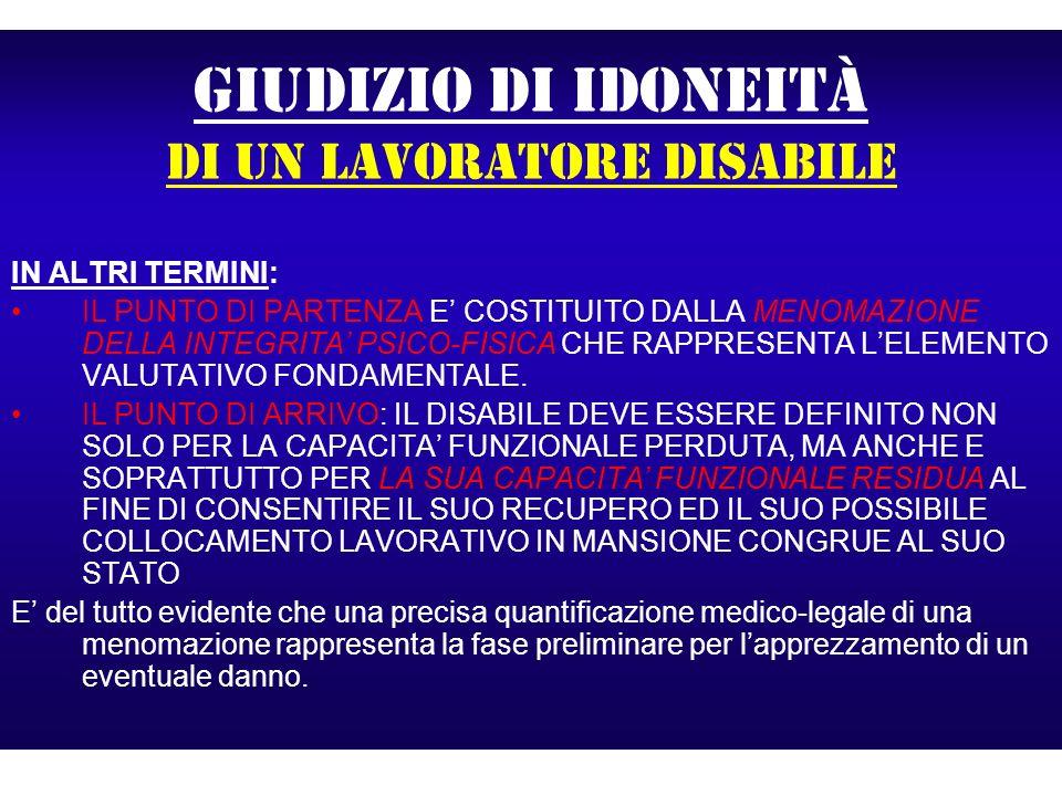 GIUDIZIO DI IDONEITà di un lavoratore disabile IN ALTRI TERMINI: IL PUNTO DI PARTENZA E COSTITUITO DALLA MENOMAZIONE DELLA INTEGRITA PSICO-FISICA CHE