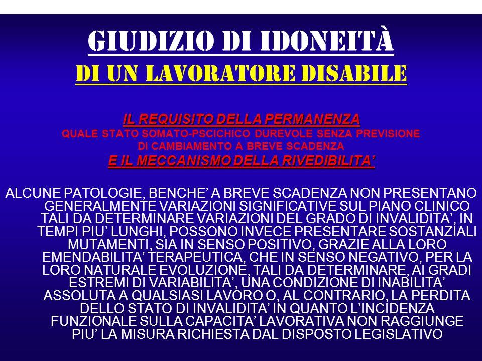 GIUDIZIO DI IDONEITà di un lavoratore disabile IL REQUISITO DELLA PERMANENZA QUALE STATO SOMATO-PSCICHICO DUREVOLE SENZA PREVISIONE DI CAMBIAMENTO A B
