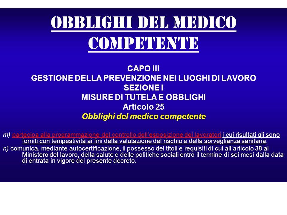 Obblighi del medico competente CAPO III GESTIONE DELLA PREVENZIONE NEI LUOGHI DI LAVORO SEZIONE I MISURE DI TUTELA E OBBLIGHI Articolo 25 Obblighi del