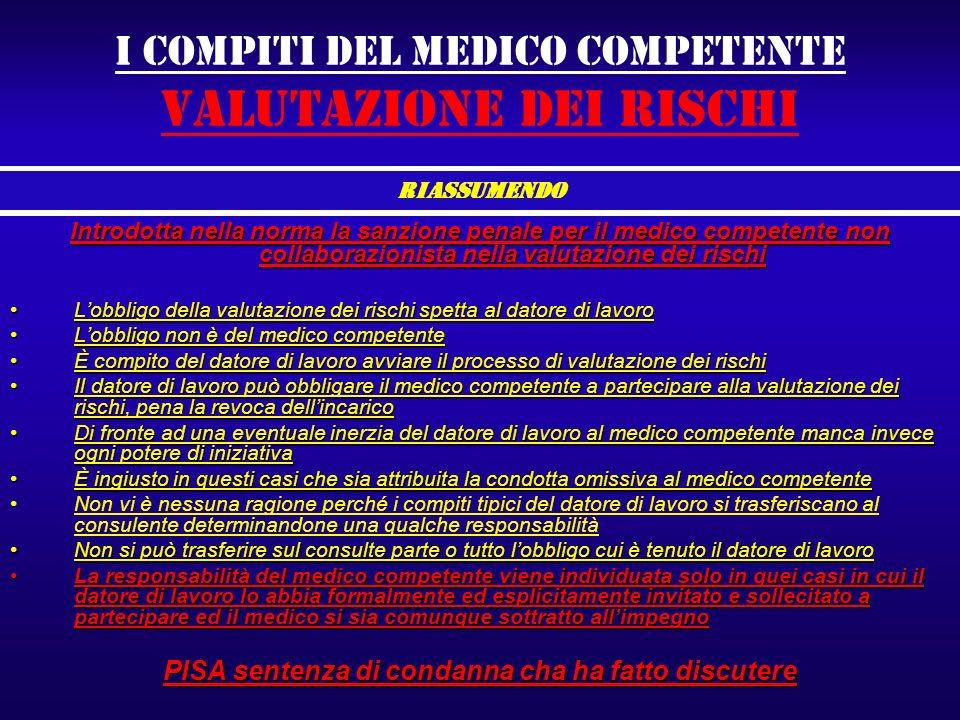 I compiti del medico competente valutazione dei rischi Introdotta nella norma la sanzione penale per il medico competente non collaborazionista nella