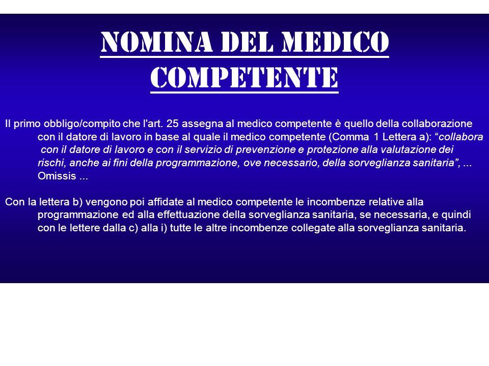 Nomina del medico competente Il primo obbligo/compito che l'art. 25 assegna al medico competente è quello della collaborazione con il datore di lavoro