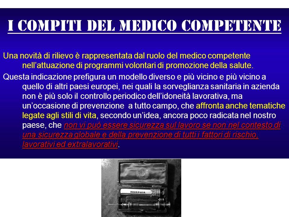 I compiti del medico competente Una novità di rilievo è rappresentata dal ruolo del medico competente nellattuazione di programmi volontari di promozi
