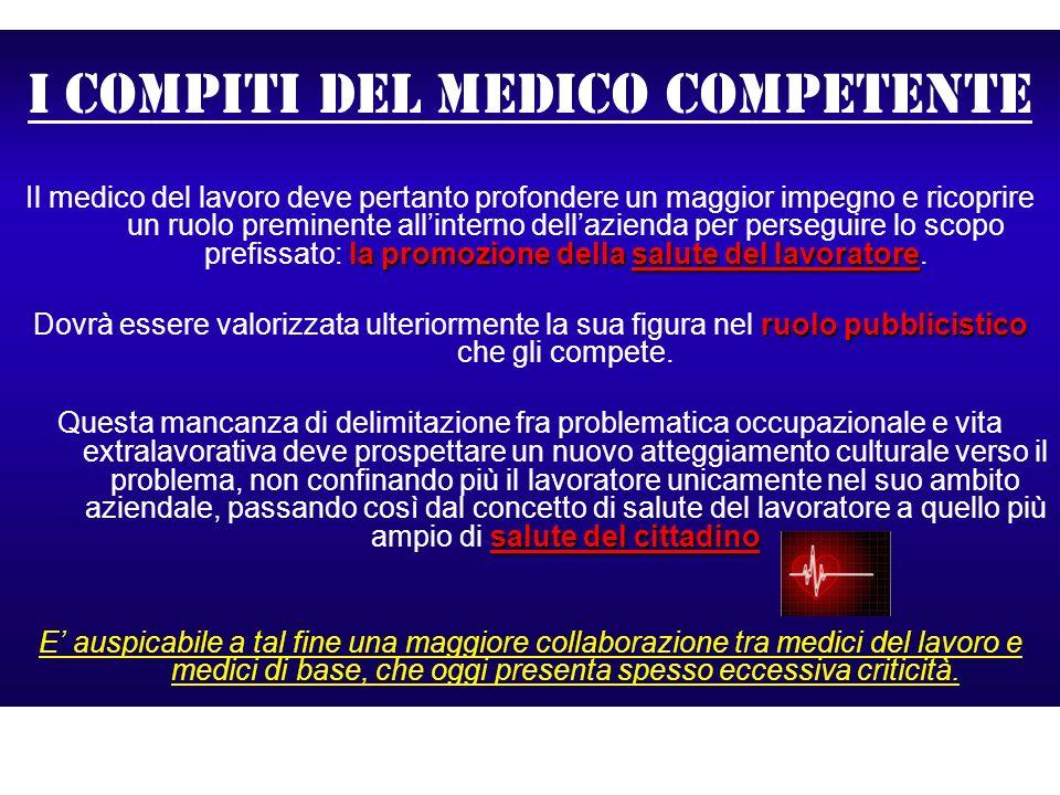 I compiti del medico competente la promozione dellasalute del lavoratore Il medico del lavoro deve pertanto profondere un maggior impegno e ricoprire