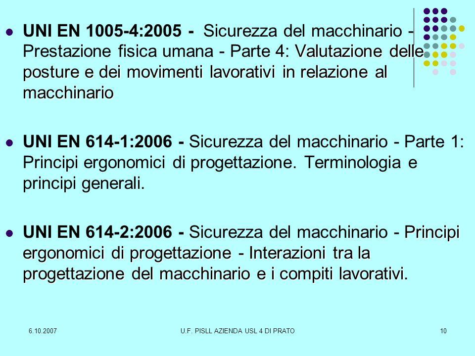 6.10.2007U.F. PISLL AZIENDA USL 4 DI PRATO10 Valutazione delle posture e dei movimenti lavorativi in relazione al macchinario UNI EN 1005-4:2005 - Sic