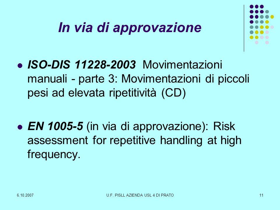 6.10.2007U.F. PISLL AZIENDA USL 4 DI PRATO11 In via di approvazione ISO-DIS 11228-2003 Movimentazioni manuali - parte 3: Movimentazioni di piccoli pes