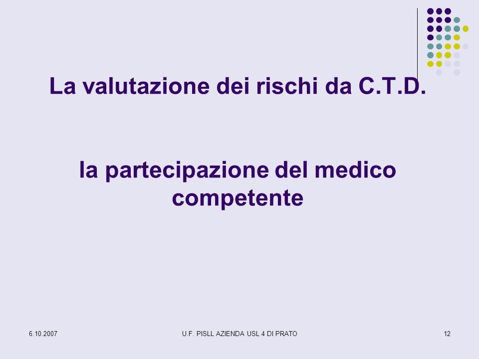 6.10.2007U.F. PISLL AZIENDA USL 4 DI PRATO12 La valutazione dei rischi da C.T.D. la partecipazione del medico competente