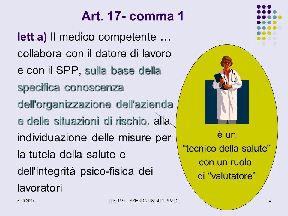 6.10.2007U.F. PISLL AZIENDA USL 4 DI PRATO14 Art. 17- comma 1 sulla base della specifica conoscenza dell'organizzazione dell'azienda e delle situazion