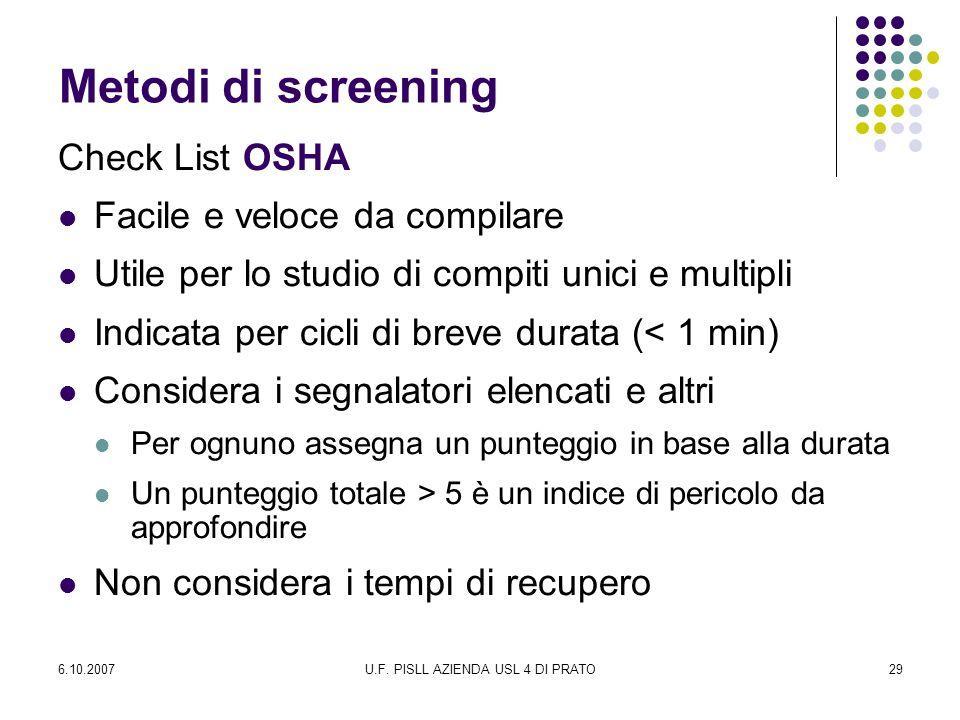 6.10.2007U.F. PISLL AZIENDA USL 4 DI PRATO29 Metodi di screening Check List OSHA Facile e veloce da compilare Utile per lo studio di compiti unici e m