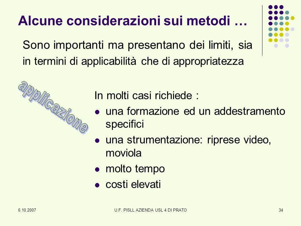6.10.2007U.F. PISLL AZIENDA USL 4 DI PRATO34 Alcune considerazioni sui metodi … Sono importanti ma presentano dei limiti, sia in termini di applicabil