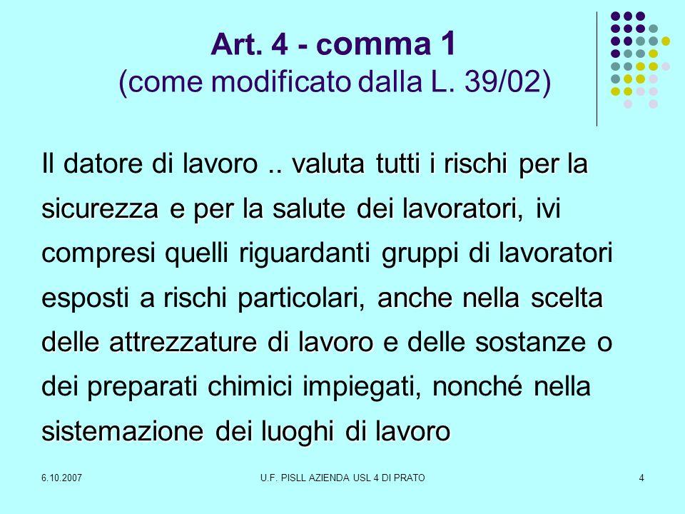 6.10.2007U.F.PISLL AZIENDA USL 4 DI PRATO5 TITOLO III - USO DELLE ATTREZZATURE DI LAVORO Art.