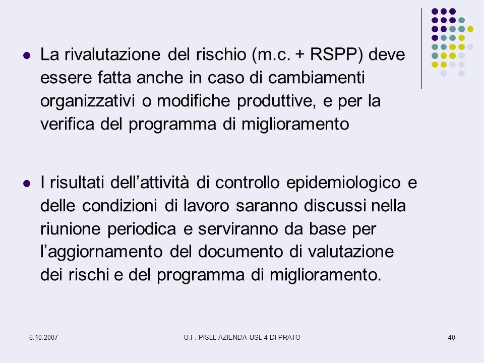6.10.2007U.F. PISLL AZIENDA USL 4 DI PRATO40 La rivalutazione del rischio (m.c. + RSPP) deve essere fatta anche in caso di cambiamenti organizzativi o