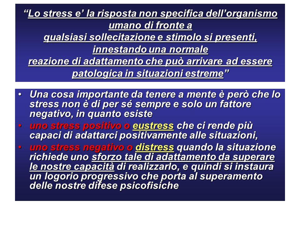 Lo stress e la risposta non specifica dellorganismo umano di fronte a qualsiasi sollecitazione e stimolo si presenti, innestando una normale reazione