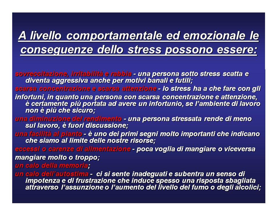 A livello comportamentale ed emozionale le conseguenze dello stress possono essere: sovreccitazione, irritabilità e rabbia - una persona sotto stress