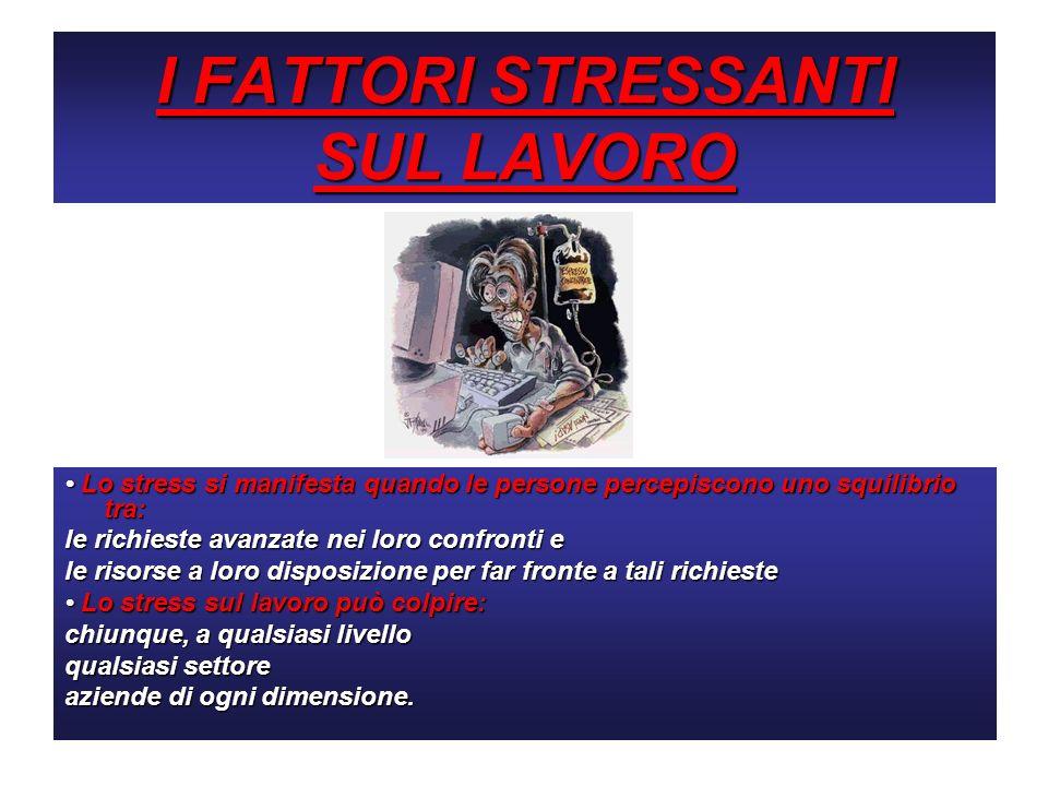 I FATTORI STRESSANTI SUL LAVORO Lo stress si manifesta quando le persone percepiscono uno squilibrio tra: Lo stress si manifesta quando le persone per