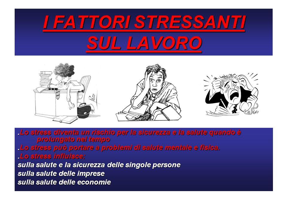 I FATTORI STRESSANTI SUL LAVORO.Lo stress diventa un rischio per la sicurezza e la salute quando è prolungato nel tempo.Lo stress può portare a proble