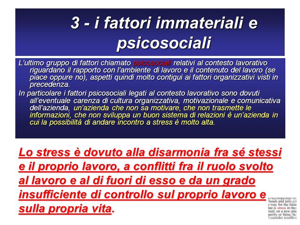 3 - i fattori immateriali e psicosociali Lultimo gruppo di fattori chiamato psicosociali relativi al contesto lavorativo riguardano il rapporto con la