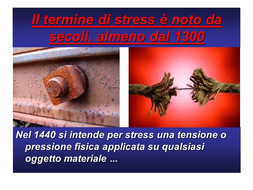 Il termine di stress è noto da secoli, almeno dal 1300 Nel 1440 si intende per stress una tensione o pressione fisica applicata su qualsiasi oggetto m