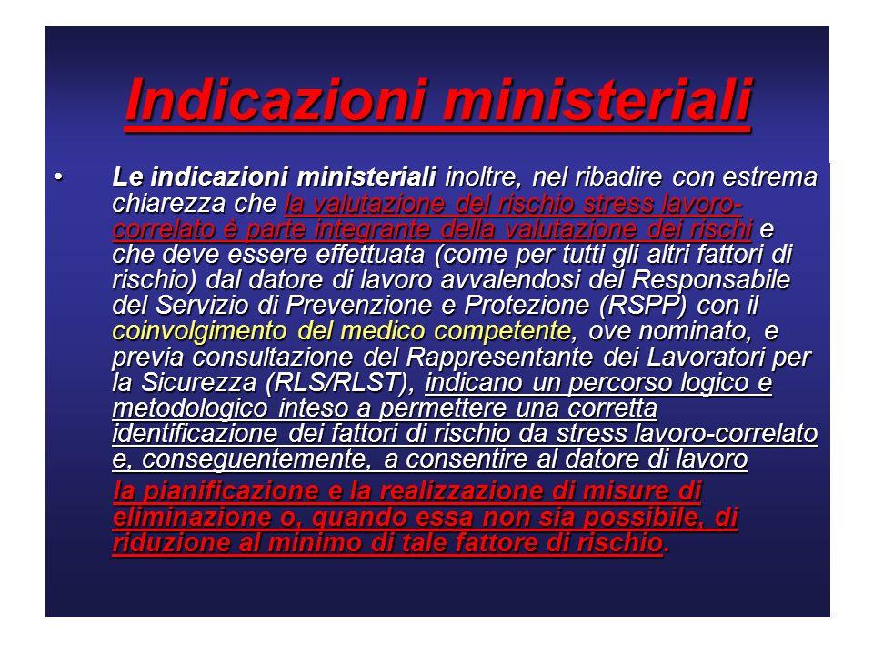 Indicazioni ministeriali Le indicazioni ministeriali inoltre, nel ribadire con estrema chiarezza che la valutazione del rischio stress lavoro- correla