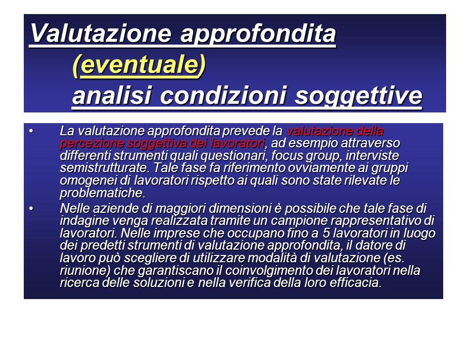 Valutazione approfondita (eventuale) analisi condizioni soggettive La valutazione approfondita prevede la valutazione della percezione soggettiva dei