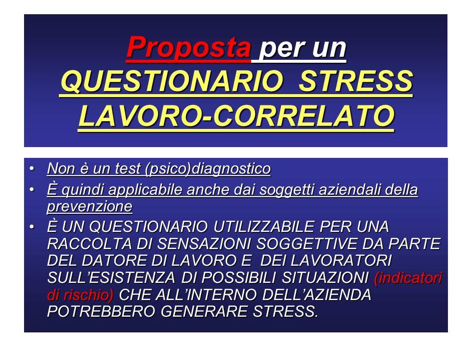 Proposta per un QUESTIONARIO STRESS LAVORO-CORRELATO Non è un test (psico)diagnosticoNon è un test (psico)diagnostico È quindi applicabile anche dai s