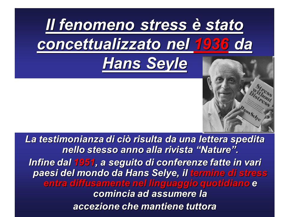Il fenomeno stress è stato concettualizzato nel 1936 da Hans Seyle La testimonianza di ciò risulta da una lettera spedita nello stesso anno alla rivis
