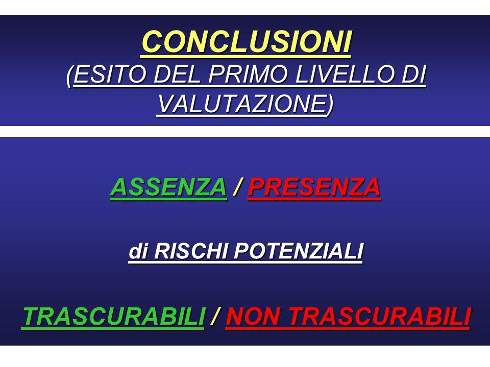 CONCLUSIONI (ESITO DEL PRIMO LIVELLO DI VALUTAZIONE) ASSENZA / PRESENZA di RISCHI POTENZIALI TRASCURABILI / NON TRASCURABILI