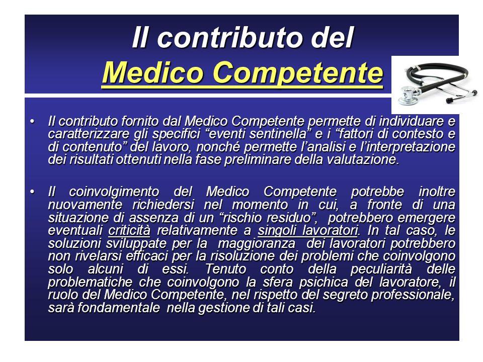 Il contributo del Medico Competente Il contributo fornito dal Medico Competente permette di individuare e caratterizzare gli specifici eventi sentinel