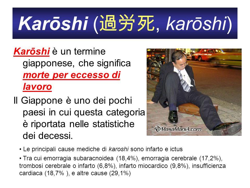 Karōshi (, karōshi) Karōshi è un termine giapponese, che significa morte per eccesso di lavoro Il Giappone è uno dei pochi paesi in cui questa categor