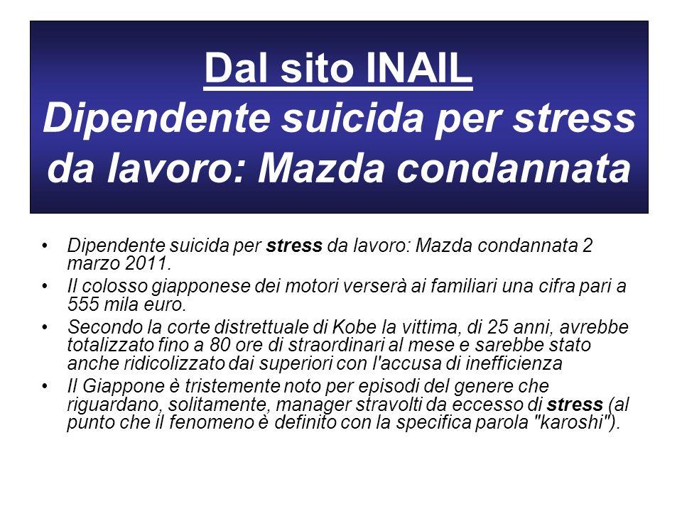 Dal sito INAIL Dipendente suicida per stress da lavoro: Mazda condannata Dipendente suicida per stress da lavoro: Mazda condannata 2 marzo 2011. Il co
