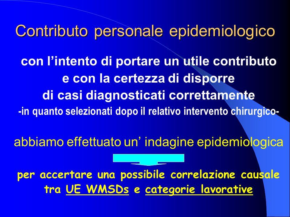 Contributo personale epidemiologico con lintento di portare un utile contributo e con la certezza di disporre di casi diagnosticati correttamente -in quanto selezionati dopo il relativo intervento chirurgico- abbiamo effettuato un indagine epidemiologica per accertare una possibile correlazione causale tra UE WMSDs e categorie lavorative