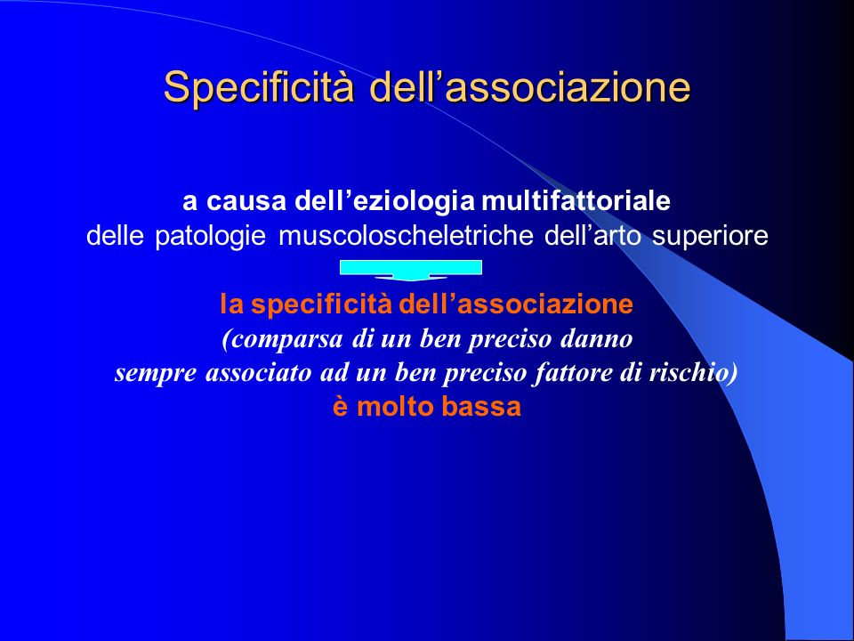 Specificità dellassociazione a causa delleziologia multifattoriale delle patologie muscoloscheletriche dellarto superiore la specificità dellassociazione (comparsa di un ben preciso danno sempre associato ad un ben preciso fattore di rischio) è molto bassa