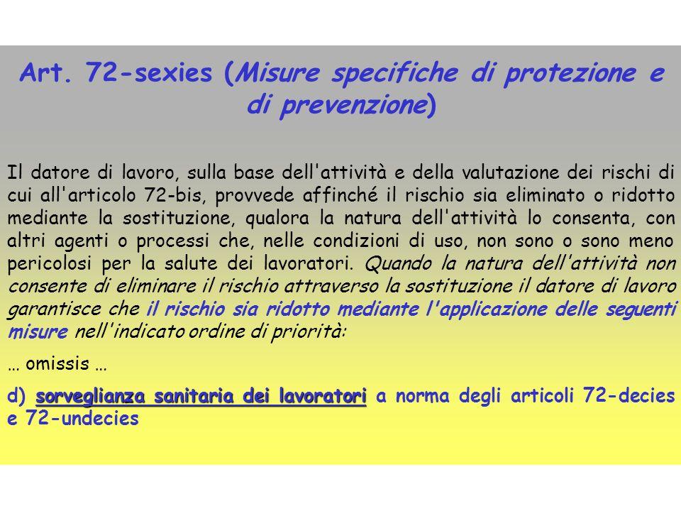 Art. 72-sexies (Misure specifiche di protezione e di prevenzione) Il datore di lavoro, sulla base dell'attività e della valutazione dei rischi di cui