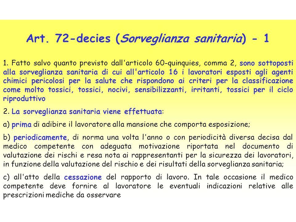 Art. 72-decies (Sorveglianza sanitaria) - 1 1. Fatto salvo quanto previsto dall'articolo 60-quinquies, comma 2, sono sottoposti alla sorveglianza sani