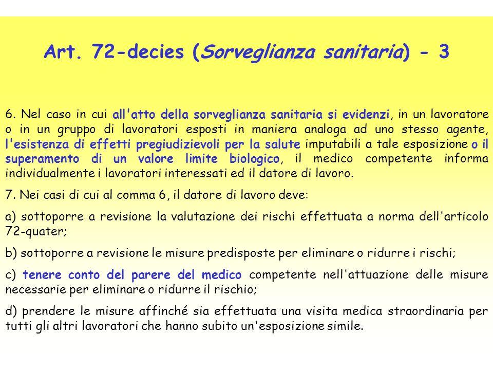 Art. 72-decies (Sorveglianza sanitaria) - 3 6. Nel caso in cui all'atto della sorveglianza sanitaria si evidenzi, in un lavoratore o in un gruppo di l