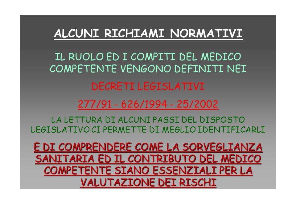 ALCUNI RICHIAMI NORMATIVI IL RUOLO ED I COMPITI DEL MEDICO COMPETENTE VENGONO DEFINITI NEI DECRETI LEGISLATIVI 277/91 - 626/1994 - 25/2002 LA LETTURA