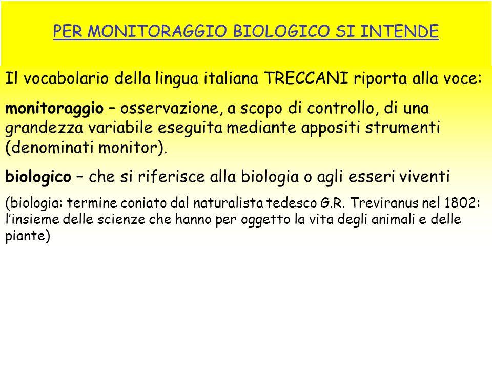 PER MONITORAGGIO BIOLOGICO SI INTENDE Il vocabolario della lingua italiana TRECCANI riporta alla voce: monitoraggio – osservazione, a scopo di control